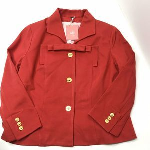NWT CAbi Beau Red Bow Button Up Blazer Style 3035
